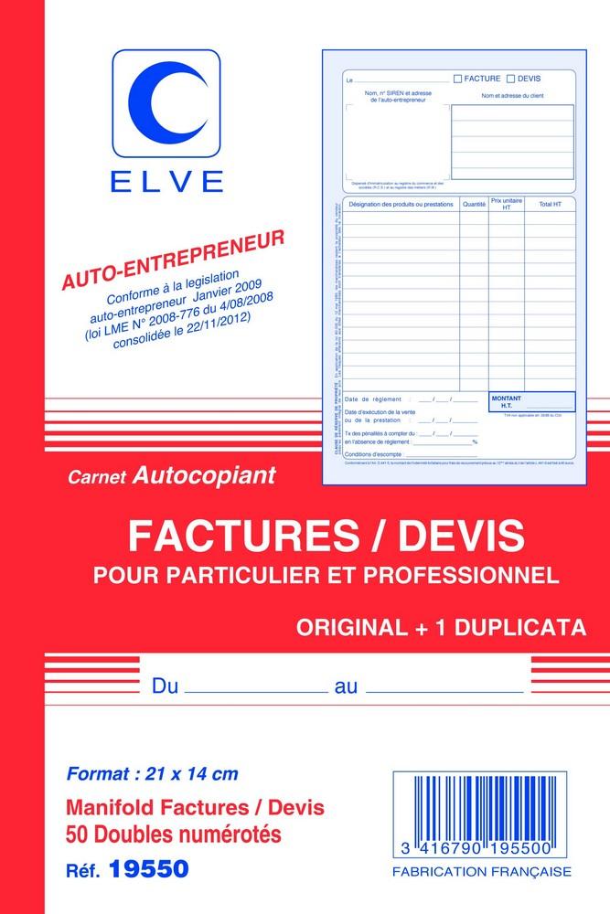 carnet de factures et devis auto entrepreneur elve 19550 facturier arc registres. Black Bedroom Furniture Sets. Home Design Ideas