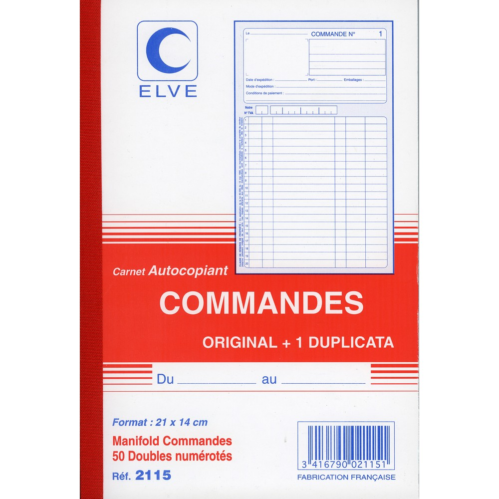Commandes carnet autocopiant dupli 210 x 140 mm for Bureau commande