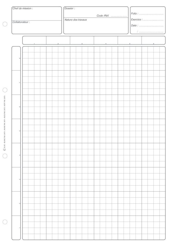 bloc blanc matrice de controle interne feuille de