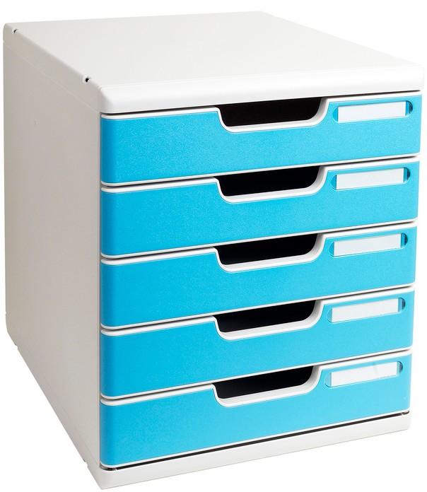 Module de rangement 5 tiroirs - Modulo A4 - Gris/Turquoise EXACOMPTA   ARC Registres