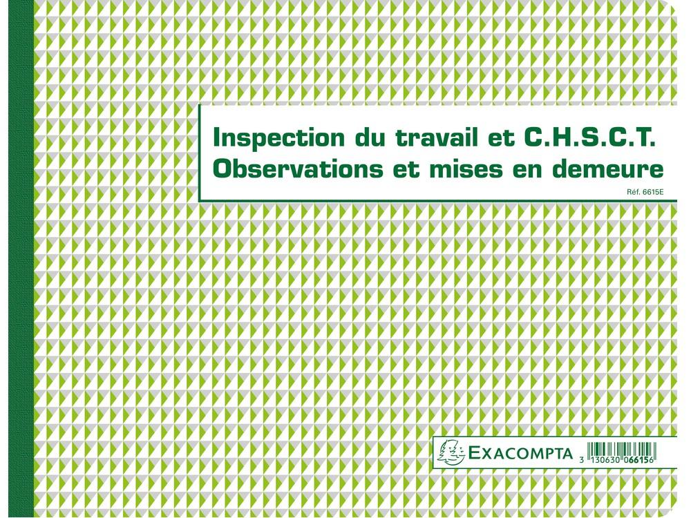 Registre chsct et inspection du travail exacompta 6615e arc registres - Inspection du travail bourges ...