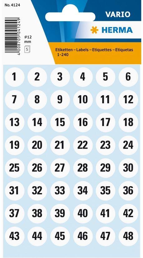etiquettes  u00e0 chiffres autocollants - 12 mm
